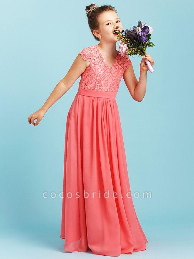 Princess / A-Line V Neck Floor Length Chiffon / Lace Junior Bridesmaid Dress With Sash / Ribbon / Pleats / Wedding Party