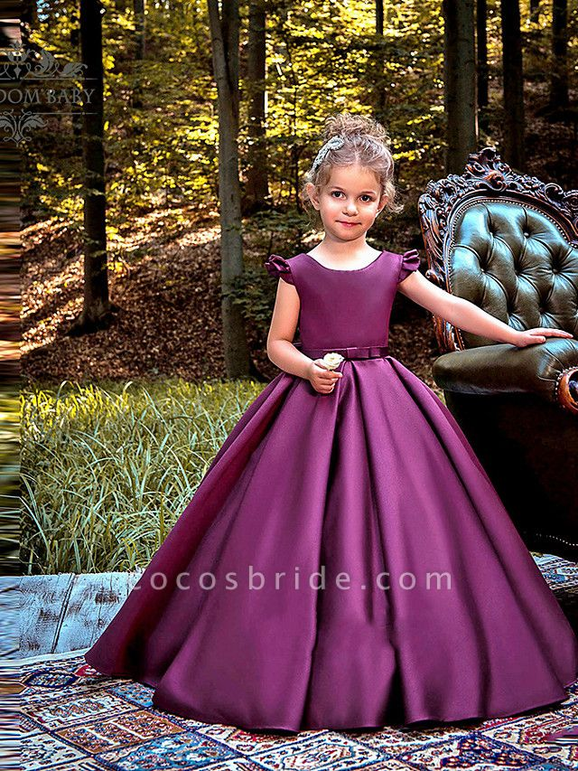 Princess / Ball Gown Floor Length Wedding / Party Flower Girl Dresses - Satin Cap Sleeve Jewel Neck With Bow(S) / Pleats