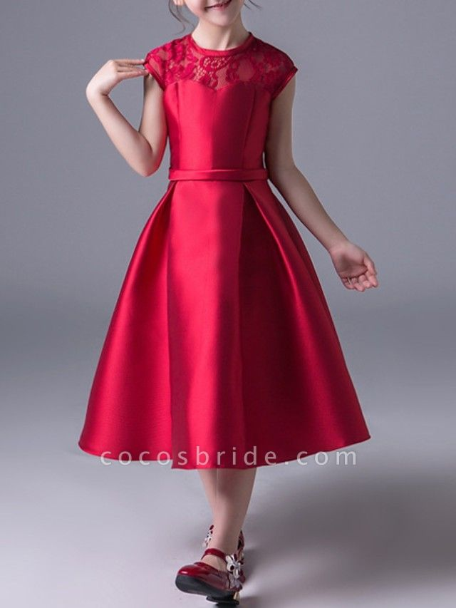 A-Line Jewel Neck Ankle Length Poly&Cotton Blend Junior Bridesmaid Dress With Lace