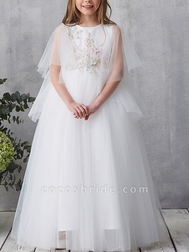 A-Line Floor Length Pageant Flower Girl Dresses - Tulle Short Sleeve Jewel Neck With Beading / Appliques / Crystals / Rhinestones