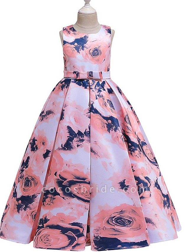 A-Line Round Floor Length Cotton Junior Bridesmaid Dress With Bow(S) / Pattern / Print / Ruching