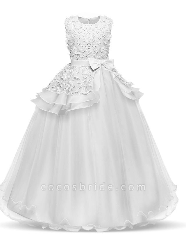Princess Long Length Wedding / First Communion Flower Girl Dresses - Chiffon / Satin / Tulle Sleeveless Jewel Neck With Bow(S) / Tier / Appliques