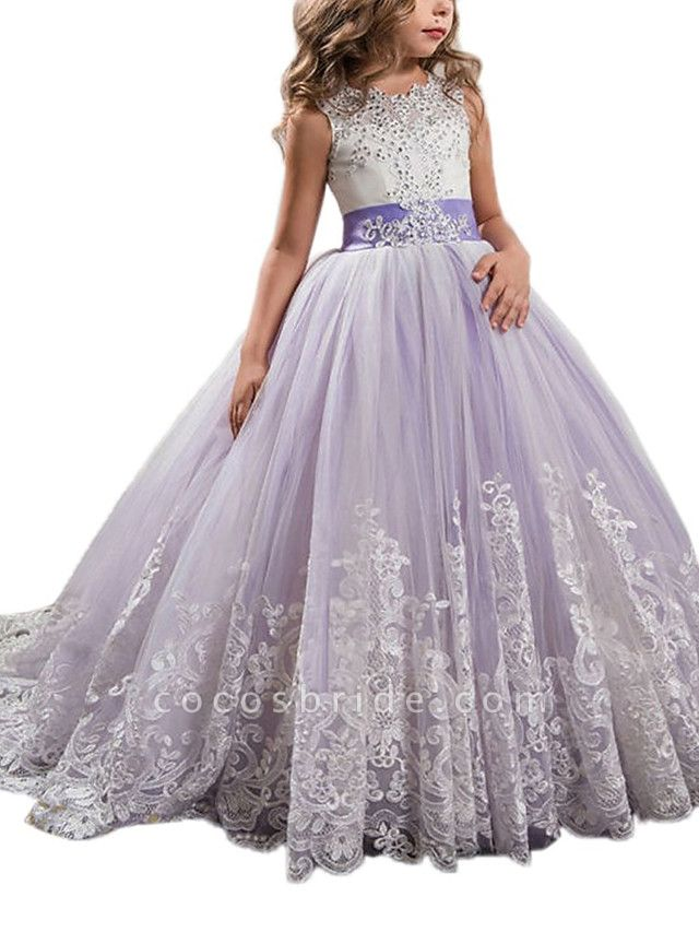 Princess Sweep / Brush Train Wedding / Birthday / Pageant Flower Girl Dresses - Tulle / Mikado Sleeveless Jewel Neck With Bow(S) / Appliques / Crystals / Rhinestones