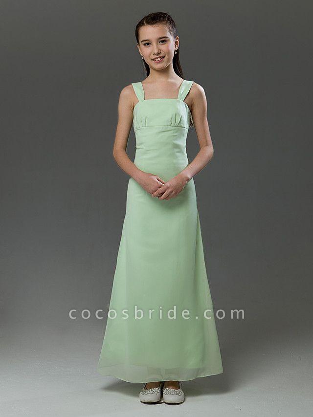 Princess / A-Line Straps Floor Length Chiffon / Satin Junior Bridesmaid Dress With Ruffles / Spring / Summer / Fall / Winter / Apple