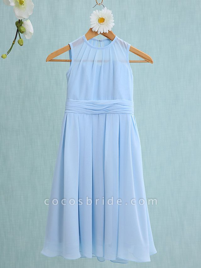 Sheath / Column Jewel Neck Knee Length Chiffon Junior Bridesmaid Dress With Ruched / Natural
