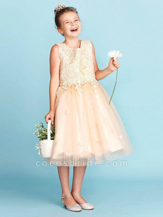 Princess / A-Line Jewel Neck Knee Length Lace / Tulle Junior Bridesmaid Dress With Bow(S) / Appliques / Wedding Party