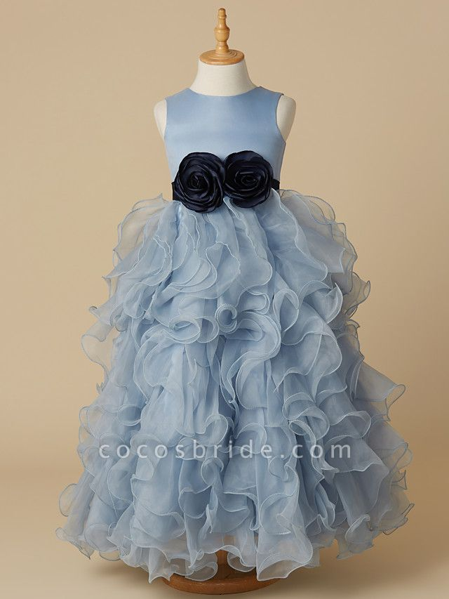 Ball Gown Floor Length Pageant Flower Girl Dresses - Organza / Satin Sleeveless Jewel Neck With Bow(S)