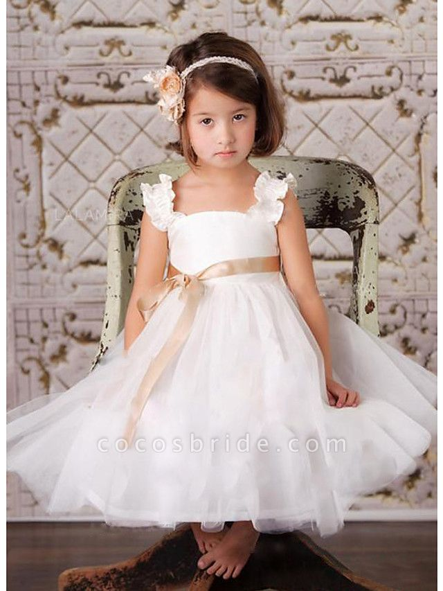 A-Line Knee Length Wedding / Party Flower Girl Dresses - Satin / Tulle Sleeveless Square Neck With Sash / Ribbon / Tier