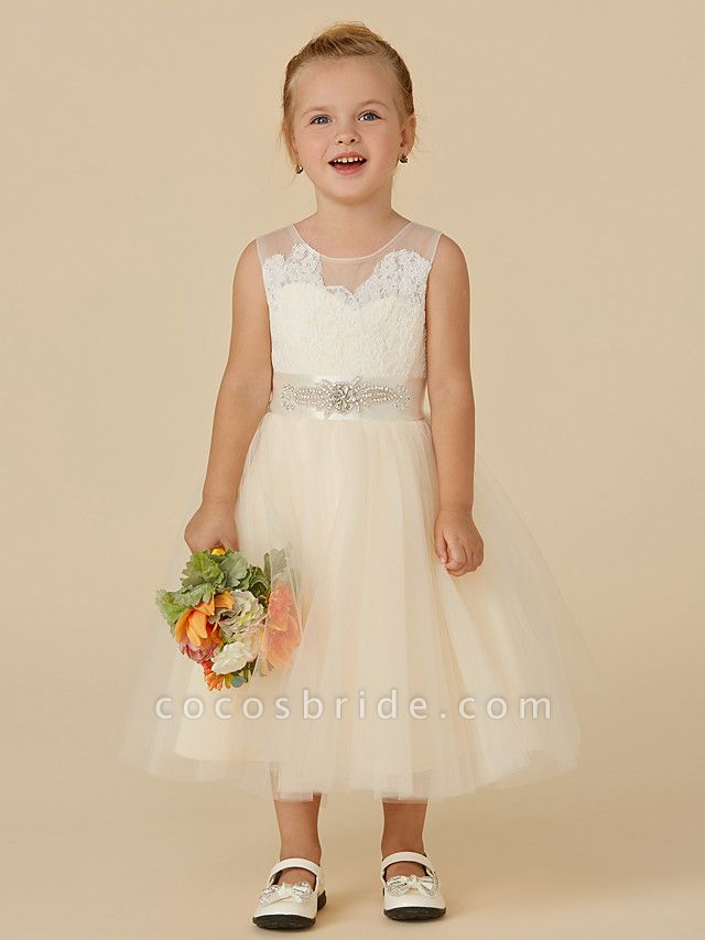 Princess Tea Length Wedding / Birthday / Pageant Flower Girl Dresses - Lace / Tulle Sleeveless Illusion Neck With Sash / Ribbon / Beading / Appliques