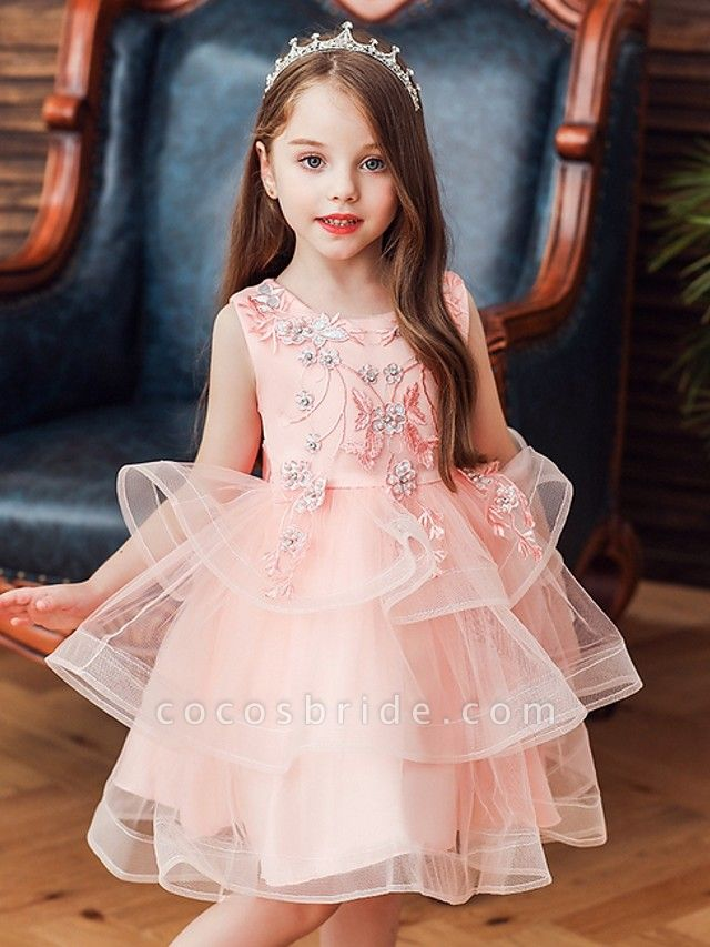Princess / Ball Gown Knee Length Wedding / Party Flower Girl Dresses - Satin / Tulle Sleeveless Jewel Neck With Bow(S) / Beading / Tier