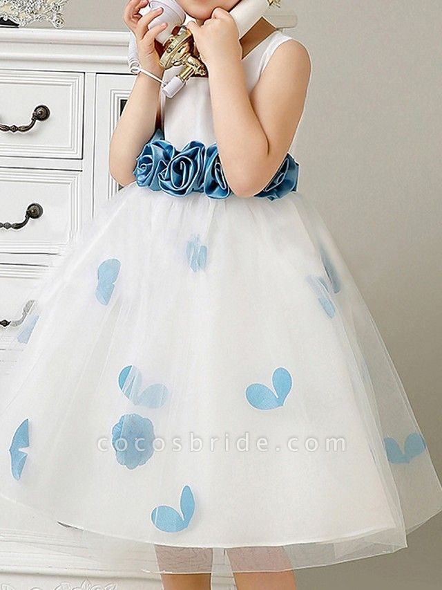 A-Line Knee Length Pageant Flower Girl Dresses - Polyester Sleeveless Scoop Neck With Bow(S) / Pattern / Print / Appliques