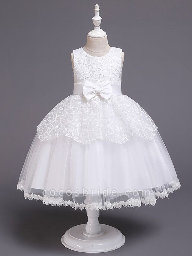 Princess Midi Wedding / First Communion / Birthday Flower Girl Dresses - Satin / Tulle Sleeveless Jewel Neck With Bow(S) / Embroidery / Paillette