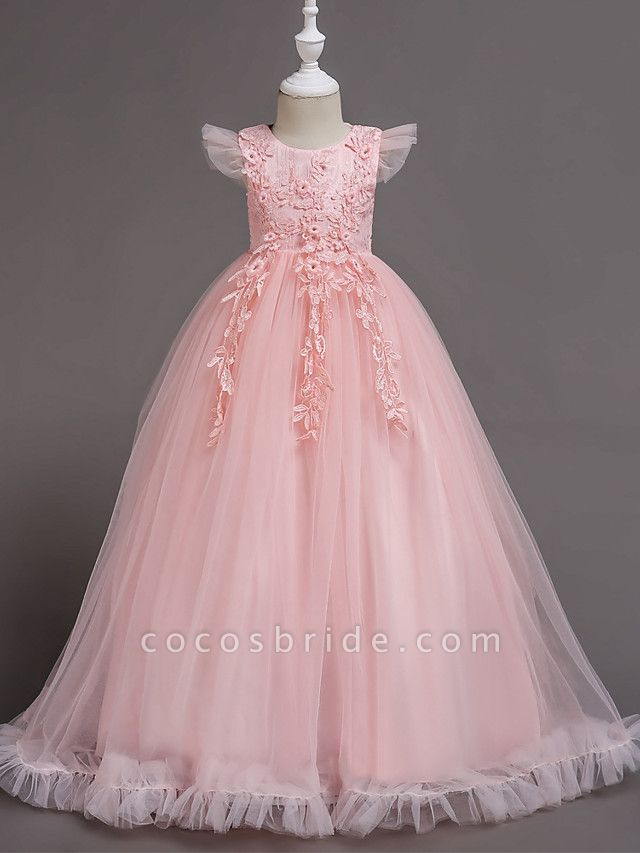 A-Line Floor Length Wedding / Party / Pageant Flower Girl Dresses - Tulle / Polyester Short Sleeve Jewel Neck With Bow(S) / Butterfly