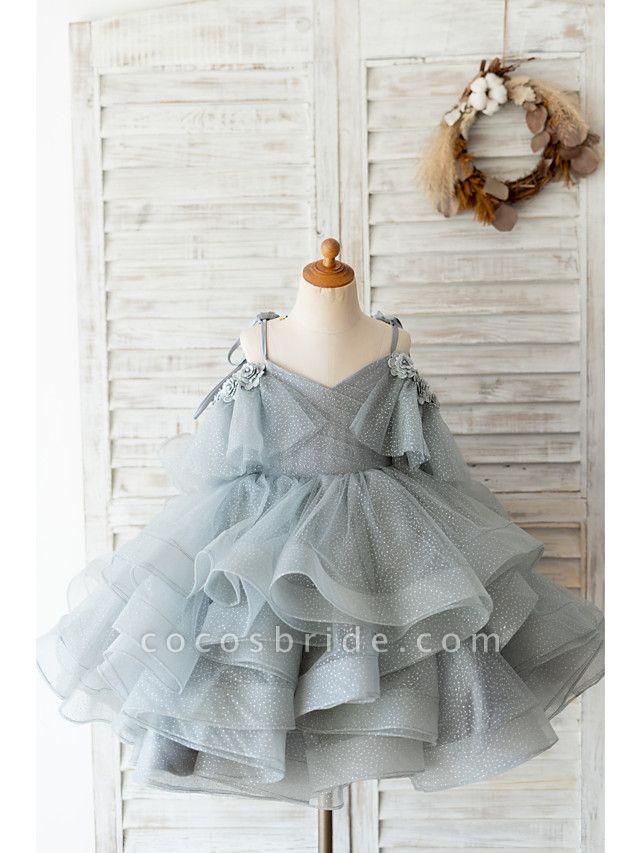 Ball Gown Knee Length Wedding / Birthday Flower Girl Dresses - Tulle Sleeveless Spaghetti Strap With Bow(S) / Beading / Flower