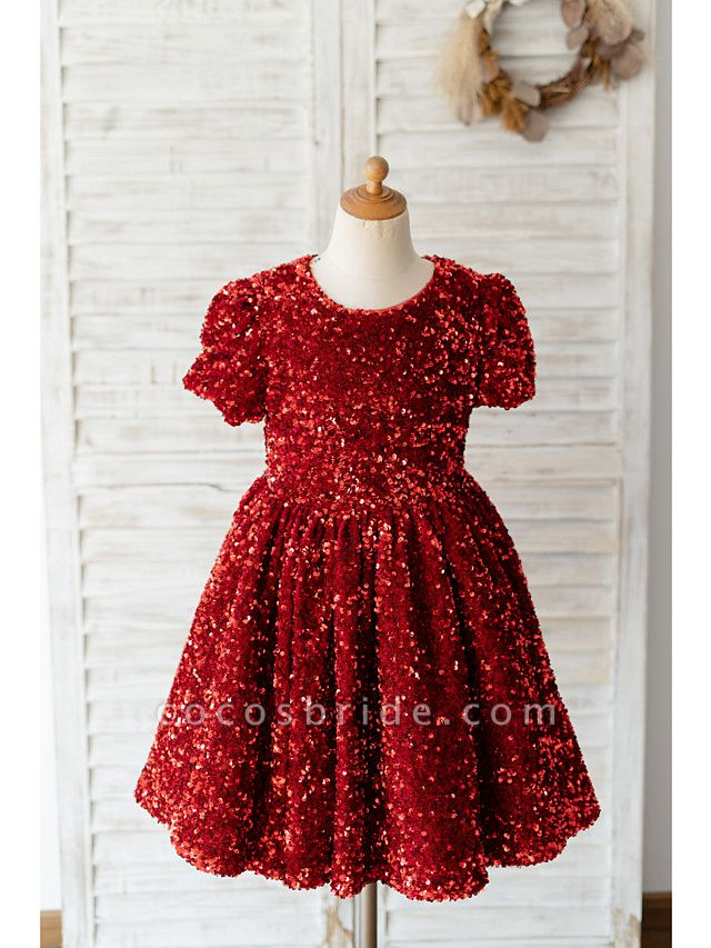 Ball Gown Knee Length Wedding / Birthday Flower Girl Dresses - Sequined Short Sleeve Jewel Neck With Petal / Paillette