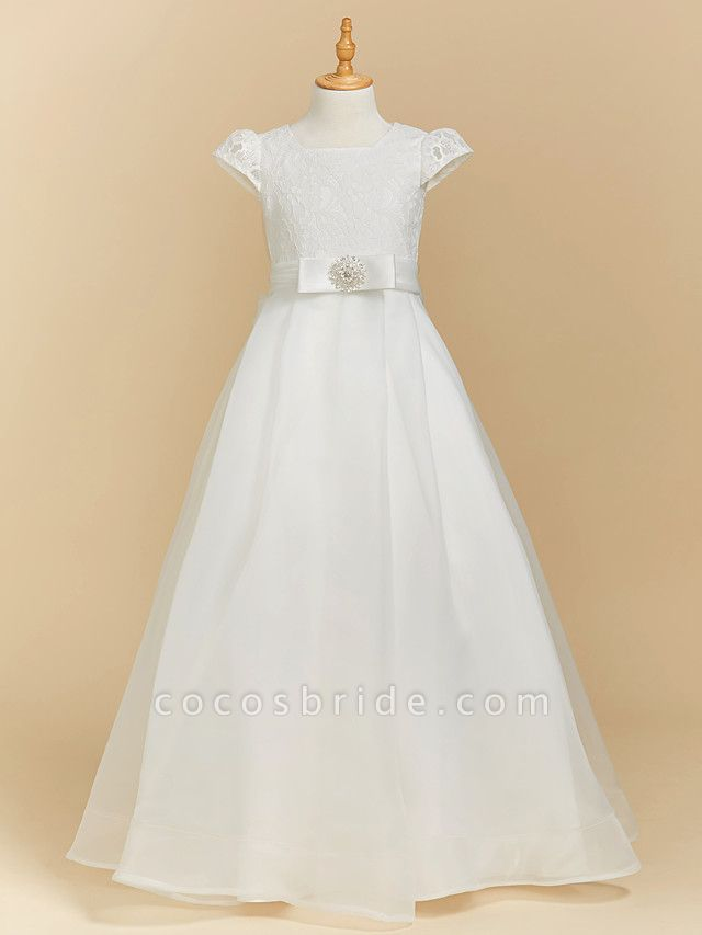 A-Line Floor Length Wedding / First Communion Flower Girl Dresses - Lace / Satin Short Sleeve Square Neck With Bow(S)