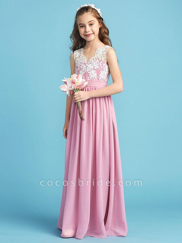 Princess / A-Line Queen Anne Floor Length Chiffon / Lace Junior Bridesmaid Dress With Lace / Sash / Ribbon / Pleats