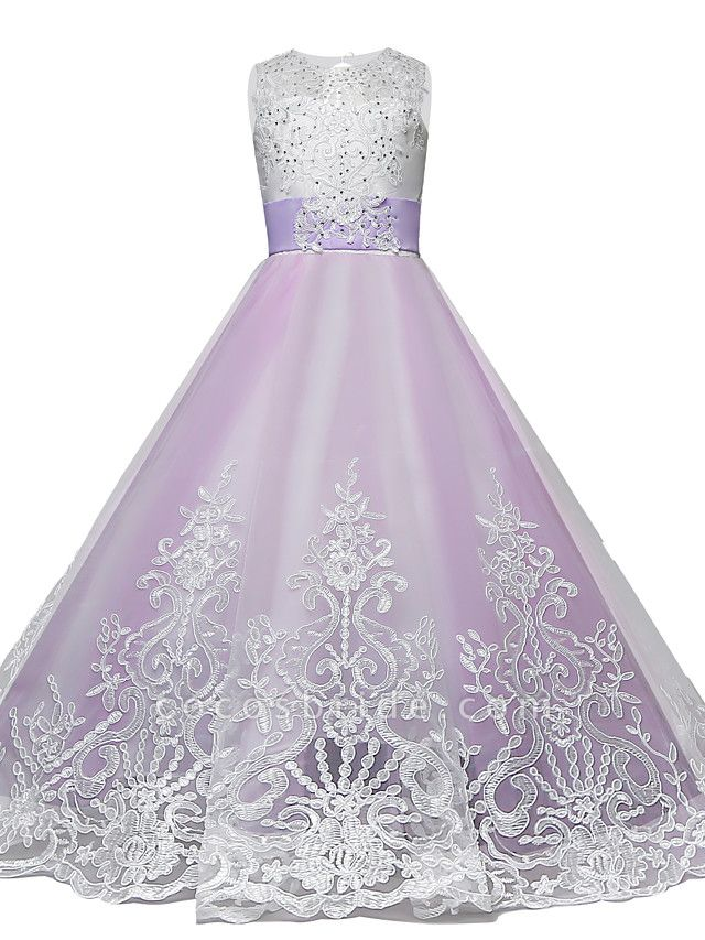 Princess Maxi Wedding / Birthday / Pageant Flower Girl Dresses - Lace / Tulle Sleeveless Jewel Neck With Lace / Bow(S) / Paillette