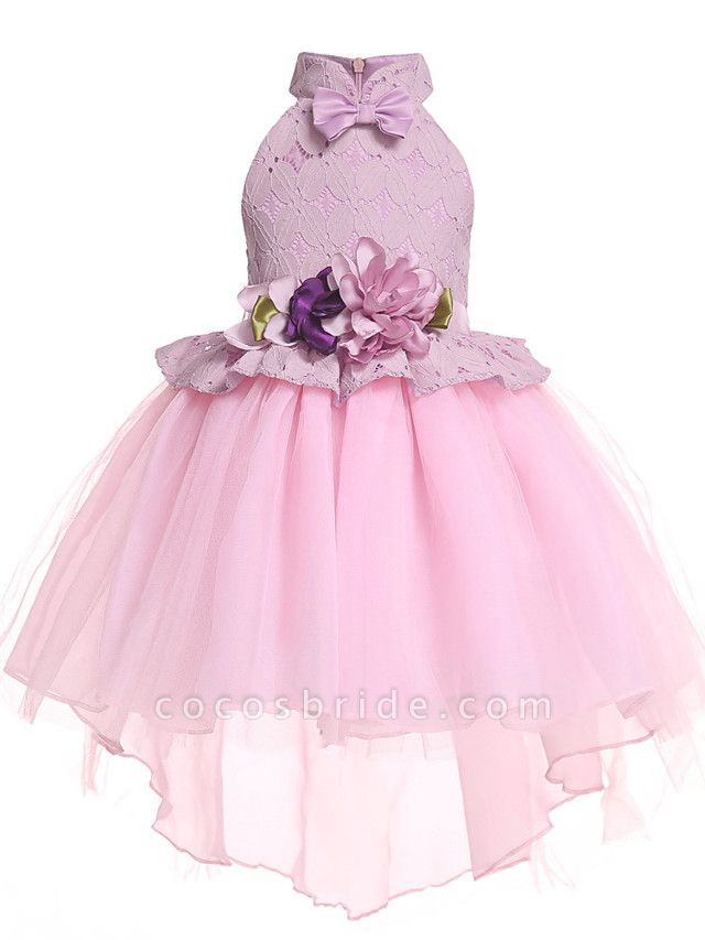 Princess Midi / Medium Length Pageant Flower Girl Dresses - Organza / Tulle Sleeveless Halter Neck With Petal / Lace / Solid