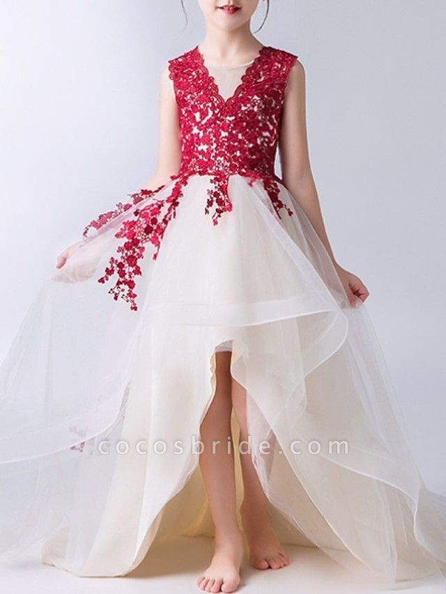 A-Line Sweep / Brush Train Polyester Sleeveless Jewel Neck With Lace / Appliques