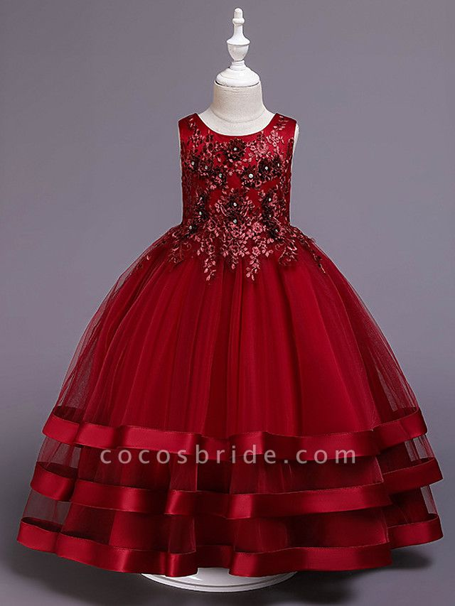 Princess Medium Length Wedding / Party / Pageant Flower Girl Dresses - Satin / Tulle / Cotton Sleeveless Jewel Neck With Belt / Embroidery / Appliques