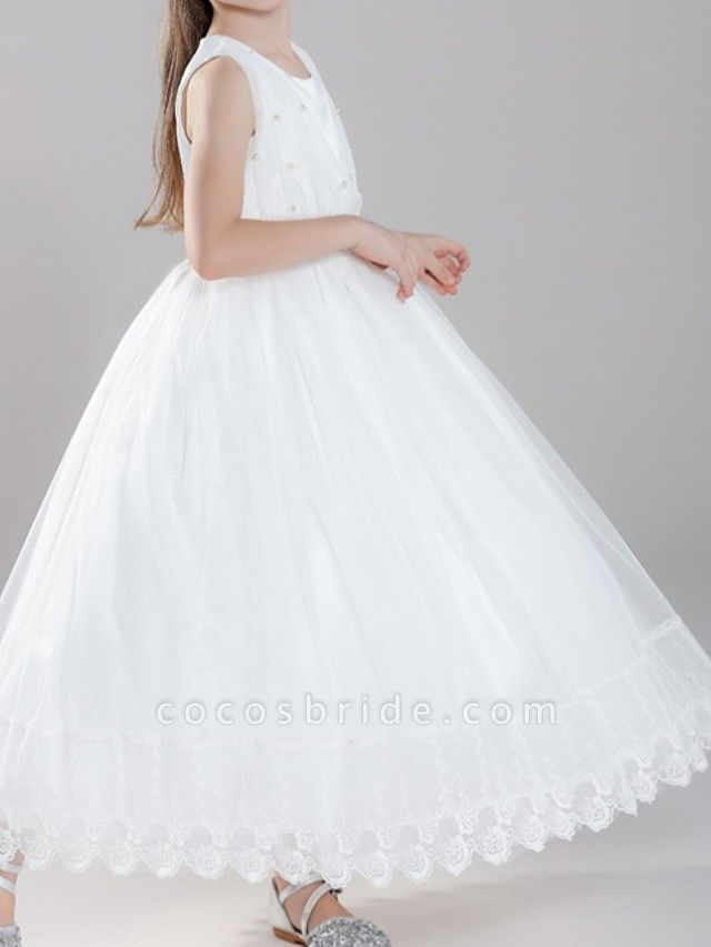 A-Line Ankle Length First Communion Flower Girl Dresses - Polyester Sleeveless Jewel Neck With Pearls