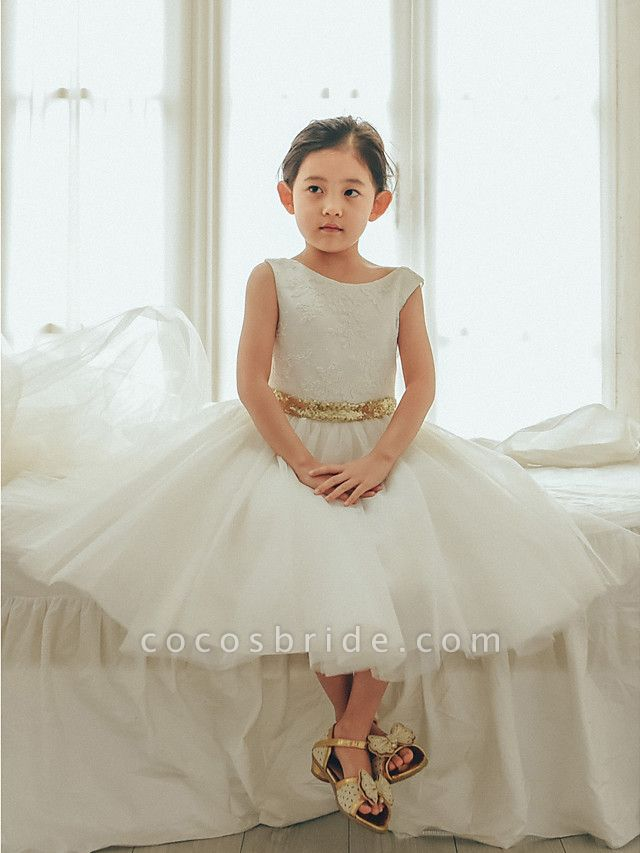 Ball Gown Tea Length Wedding / First Communion / Birthday Flower Girl Dresses - Lace / Tulle Sleeveless Jewel Neck With Bows / Belt