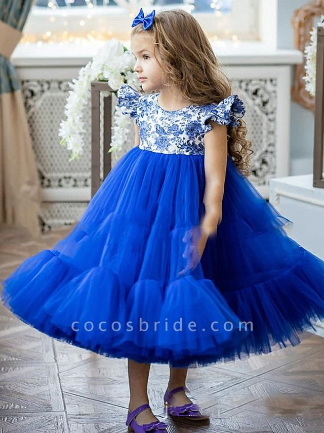 Princess / A-Line Ankle Length Party / Birthday Flower Girl Dresses - Tulle Short Sleeve Jewel Neck With Pattern / Print / Splicing