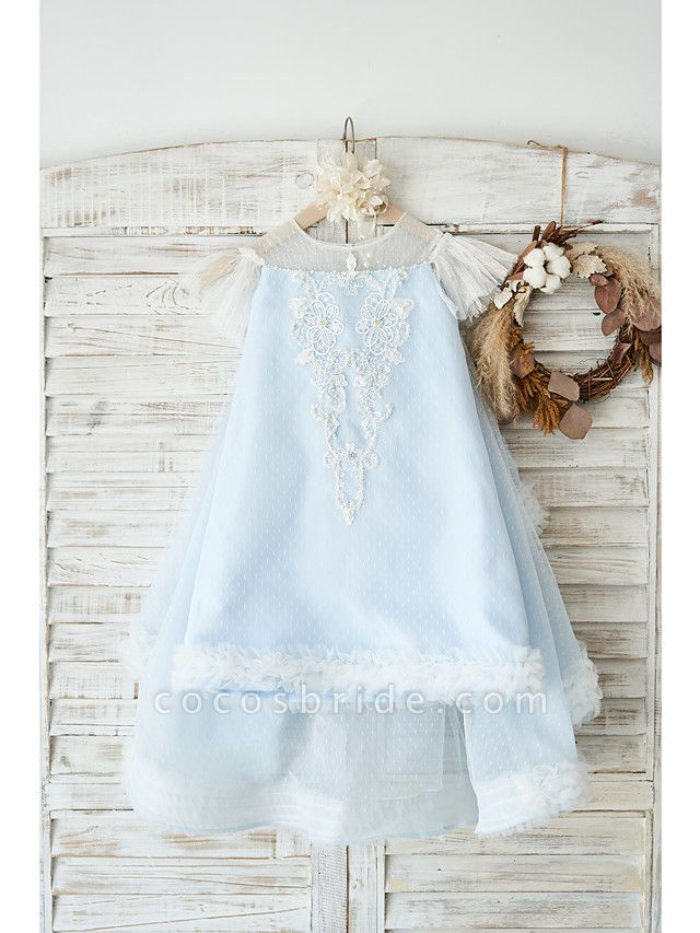 A-Line Knee Length Wedding / Birthday Flower Girl Dresses - Tulle Cap Sleeve Jewel Neck With Pearls / Appliques
