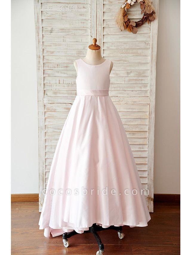 A-Line Floor Length Wedding / Birthday Flower Girl Dresses - Satin Sleeveless Jewel Neck With Bow(S)