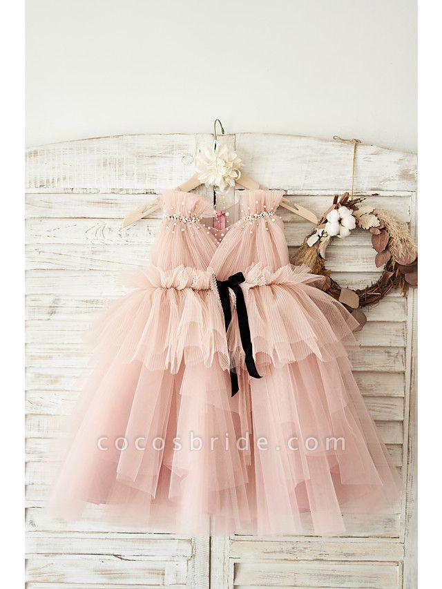Ball Gown Knee Length Wedding / Birthday Flower Girl Dresses - Tulle Sleeveless V Neck With Belt / Pearls