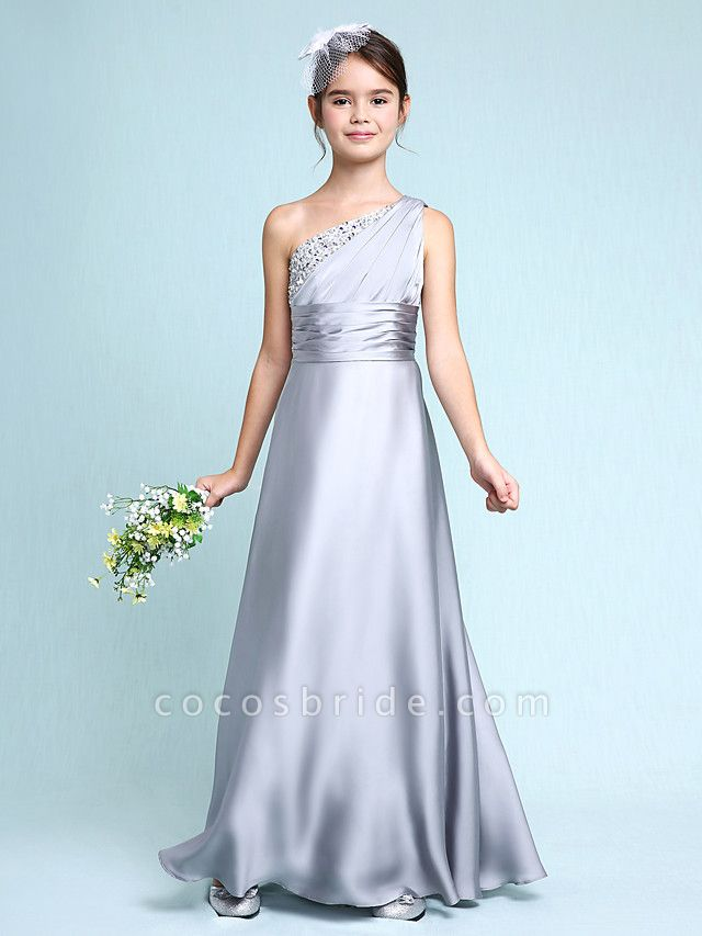 Sheath / Column One Shoulder Floor Length Chiffon Satin Junior Bridesmaid Dress With Ruched / Side Draping / Natural