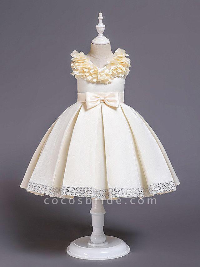 Princess Knee Length Wedding / Party / Pageant Flower Girl Dresses - Satin / Cotton Sleeveless Jewel Neck With Petal / Belt / Bow(S)