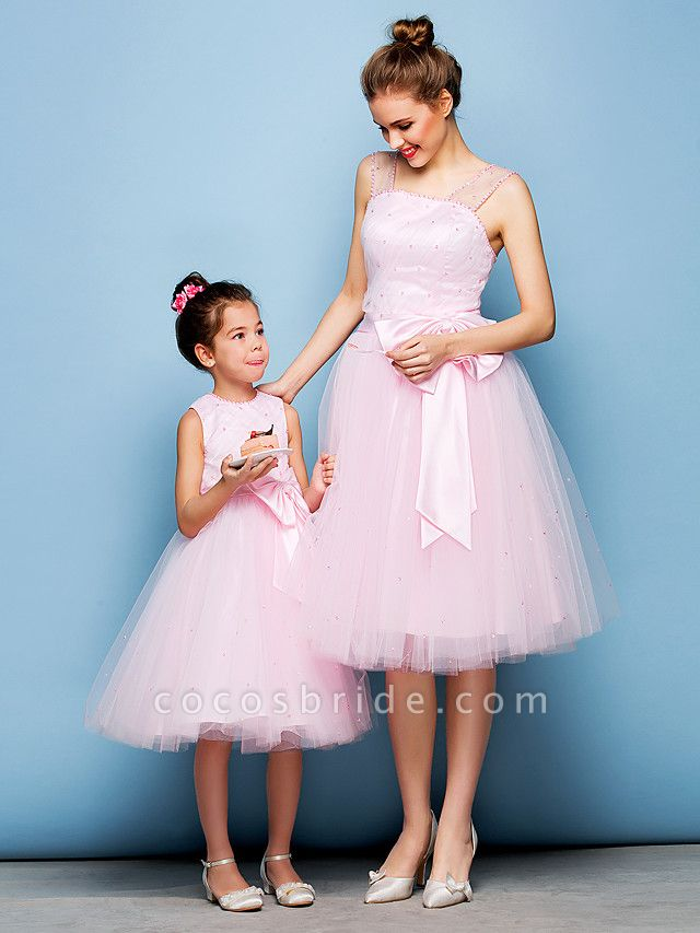 Ball Gown Mini Me Cocktail Party Dress Straps Sleeveless Knee Length Tulle With Sash / Ribbon Bow(S) Beading