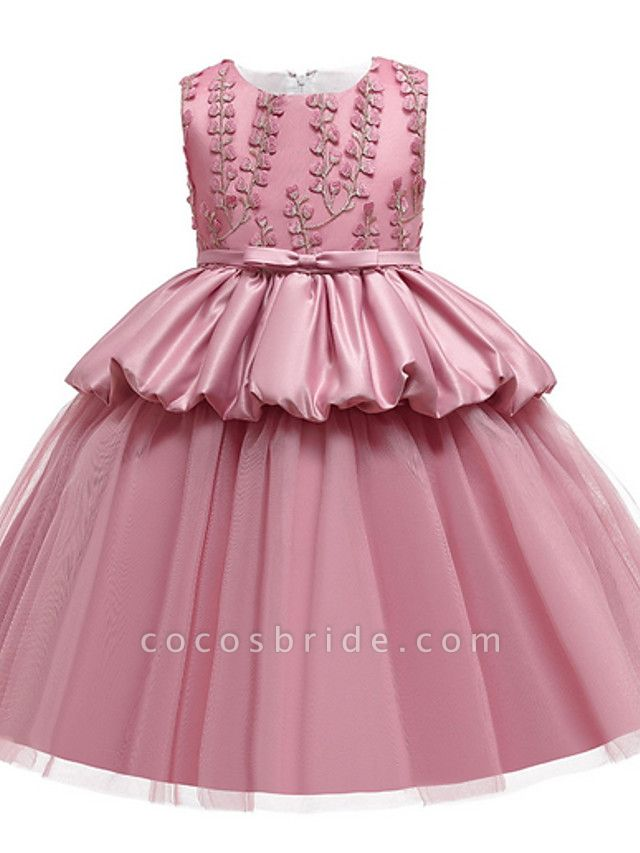 Ball Gown Ankle Length Pageant Flower Girl Dresses - Polyester Sleeveless Jewel Neck With Beading / Appliques