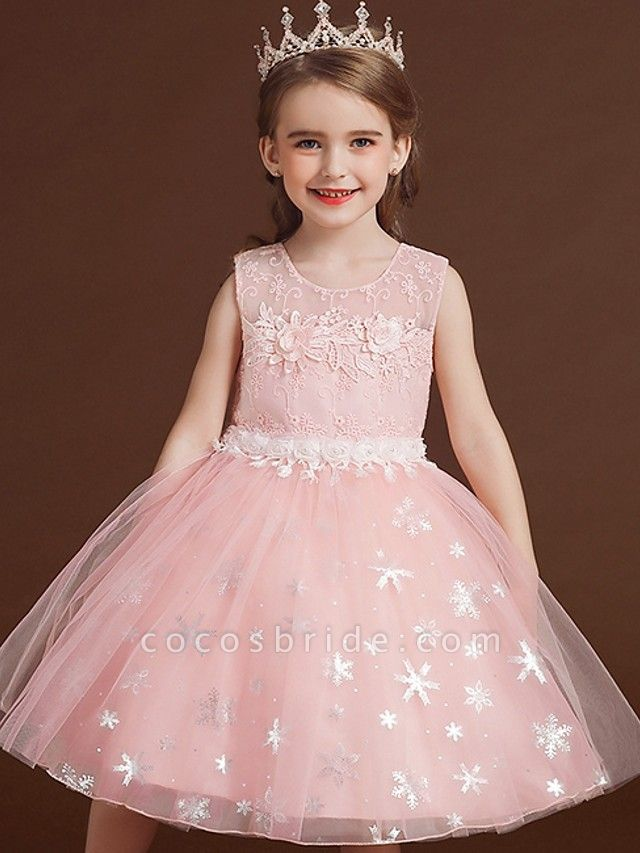 Princess / Ball Gown Knee Length Wedding / Party Flower Girl Dresses - Lace / Tulle Sleeveless Jewel Neck With Bow(S) / Appliques
