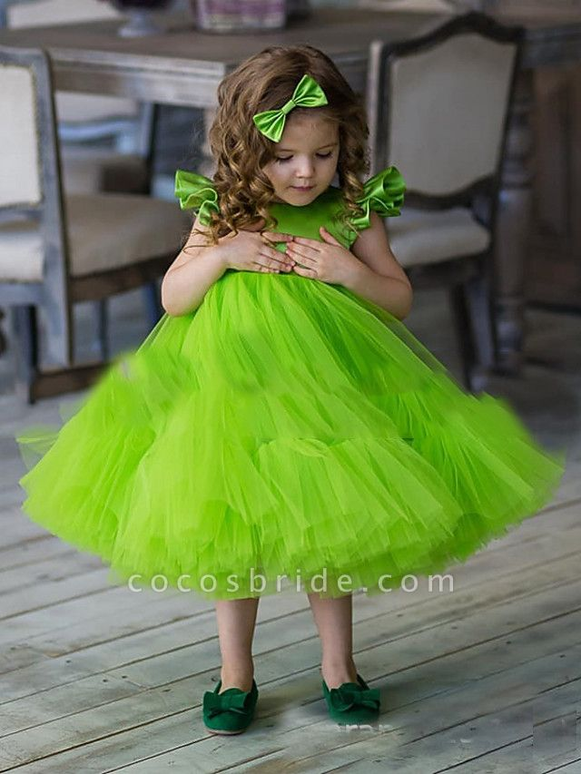 Princess / A-Line Floor Length Party / Birthday Flower Girl Dresses - Tulle Short Sleeve Jewel Neck With Cascading Ruffles / Splicing