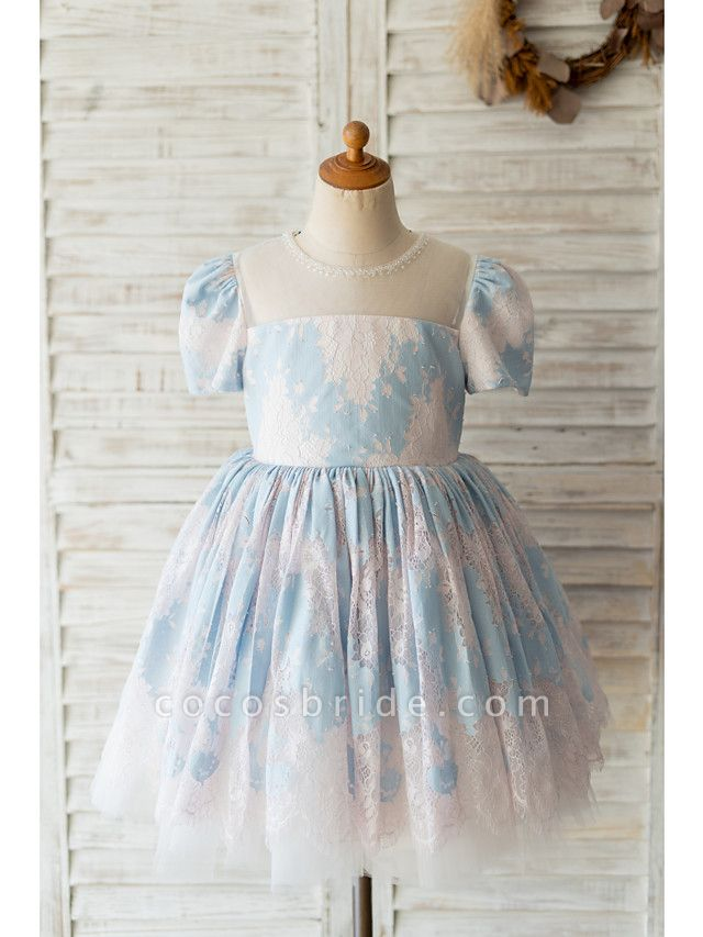 Ball Gown Knee Length Wedding / Birthday Flower Girl Dresses - Lace Short Sleeve Jewel Neck With Beading