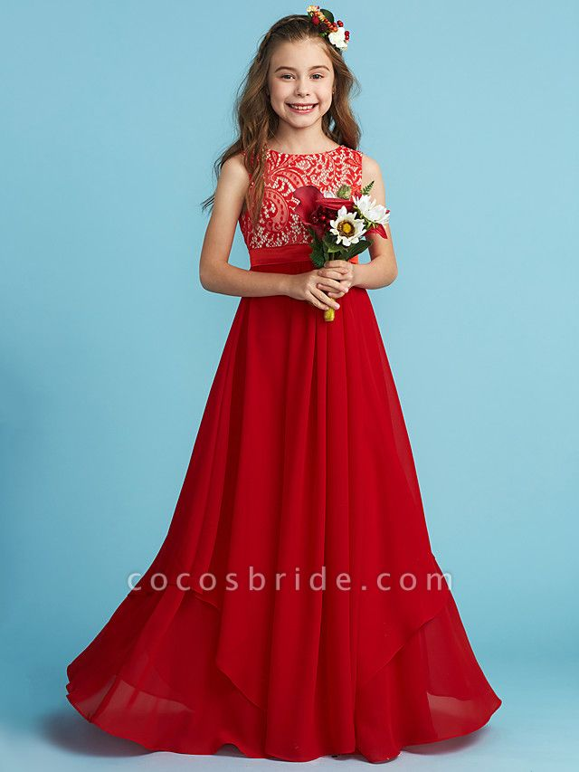 Sheath / Column Jewel Neck Floor Length Chiffon / Lace Junior Bridesmaid Dress With Sash / Ribbon / Appliques