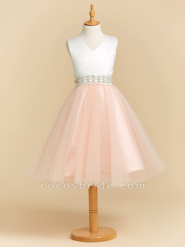 Ball Gown Tea Length Wedding / Party / Pageant Flower Girl Dresses - Satin / Tulle Sleeveless V Neck With Sash / Ribbon / Crystals