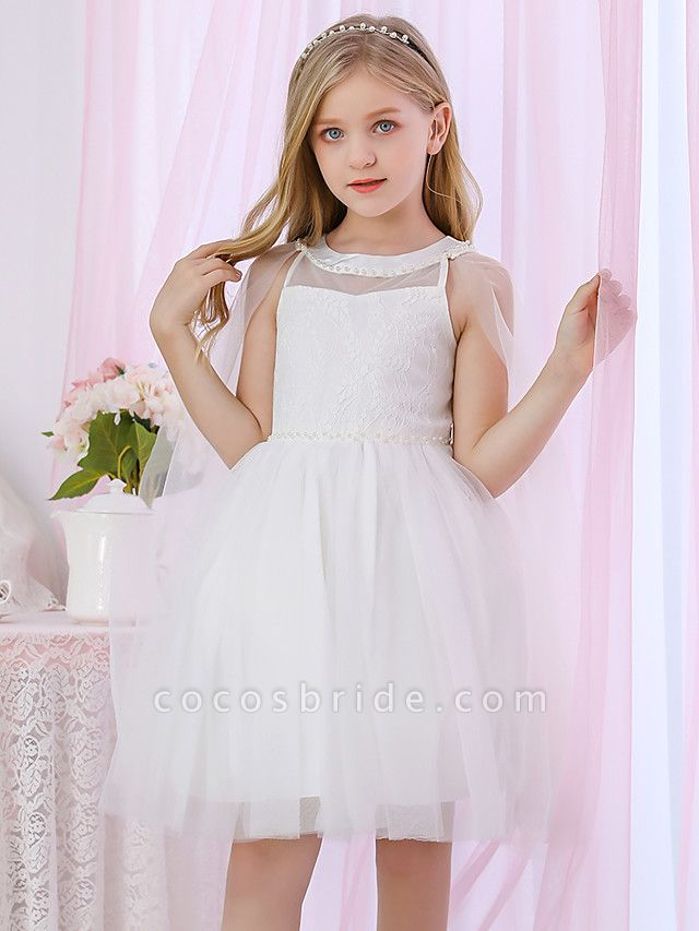 Princess / Two Piece / Ball Gown Medium Length Wedding / Event / Party Flower Girl Dresses - Lace / Satin / Tulle Sleeveless Jewel Neck With Pearls / Beading / Solid