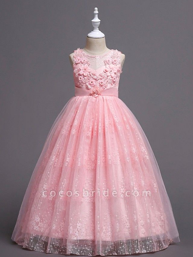 Princess / Ball Gown Floor Length Wedding / Party Flower Girl Dresses - Tulle Sleeveless Jewel Neck With Bow(S) / Appliques