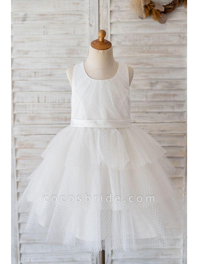 Ball Gown Knee Length Wedding / Birthday Flower Girl Dresses - Tulle Sleeveless Jewel Neck With Belt / Appliques