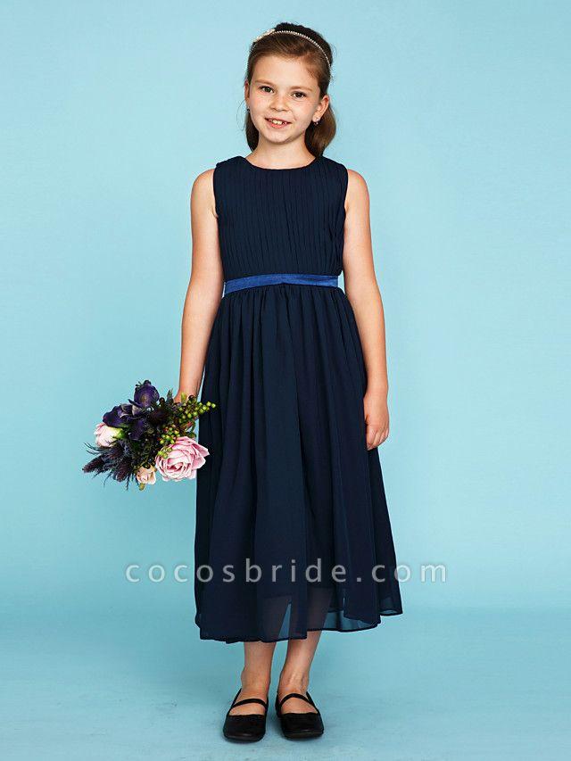 Princess / A-Line Crew Neck Tea Length Chiffon Junior Bridesmaid Dress With Sash / Ribbon / Draping / Wedding Party