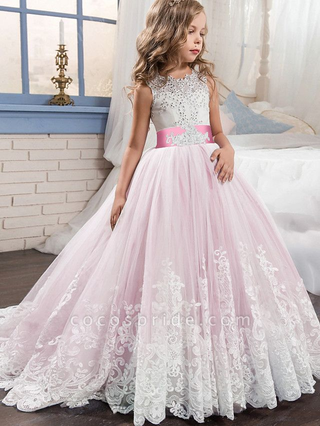 Princess Sweep / Brush Train / Long Length Wedding / Party / Pageant Flower Girl Dresses - Lace / Tulle Sleeveless Jewel Neck With Belt / Appliques