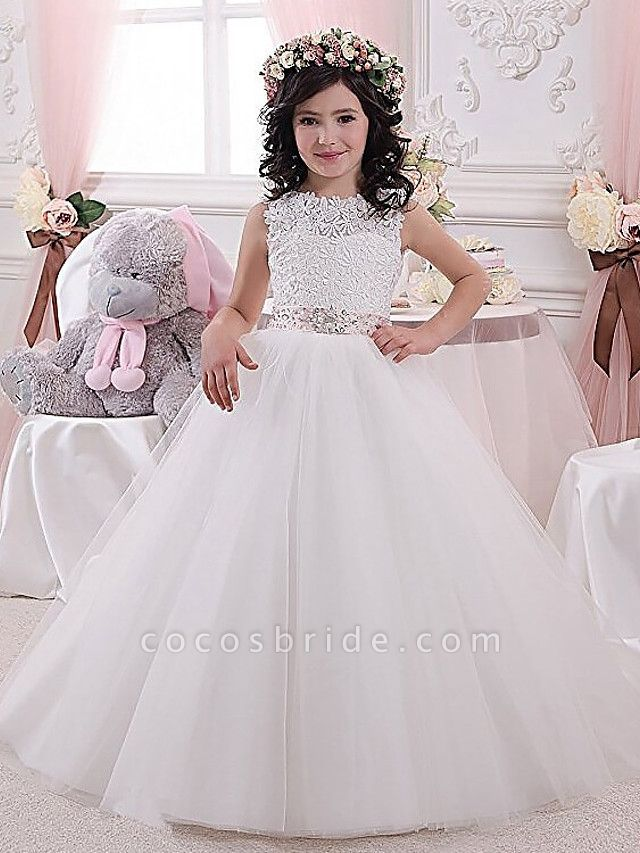 Princess / Ball Gown Floor Length Wedding / Party Flower Girl Dresses - Lace / Tulle Sleeveless Jewel Neck With Sash / Ribbon / Pleats / Solid