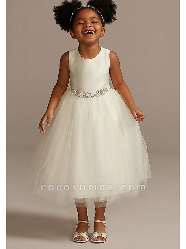 A-Line Ankle Length Wedding Flower Girl Dresses - Tulle Sleeveless Jewel Neck With Beading / Solid