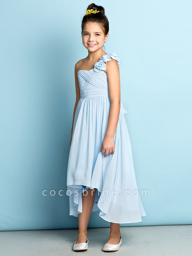 A-Line One Shoulder Asymmetrical Chiffon Junior Bridesmaid Dress With Criss Cross / Flower / Natural / Mini Me