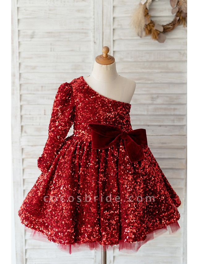 Ball Gown Knee Length Wedding / Birthday Flower Girl Dresses - Sequined Long Sleeve One Shoulder With Bow(S)