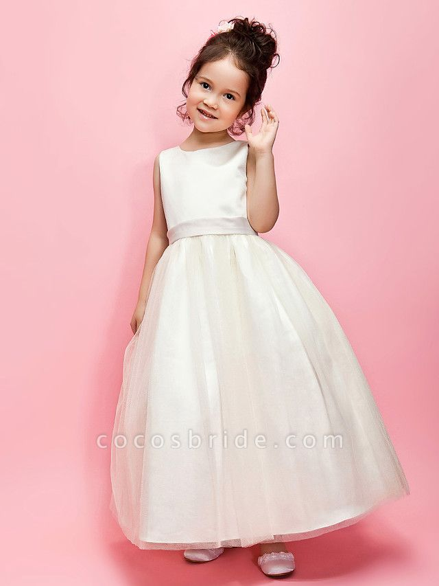 Ball Gown / A-Line Ankle Length Wedding / First Communion Flower Girl Dresses - Satin / Tulle Sleeveless Jewel Neck With Sash / Ribbon / Bow(S) / Spring / Summer / Fall / Winter